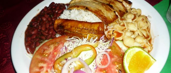 costa rican dish made up with rice and beans, fried plantains, chopped vegetables, a healthy salad and your choice of meat
