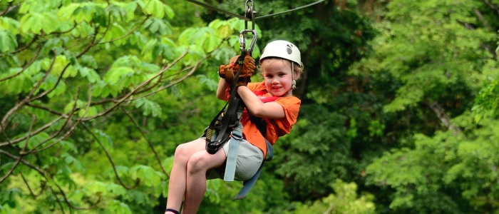 zip lining is suitable for all ages in most of the parks